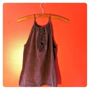 Wine-Colored Knit Tank Top
